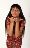 Young beautiful pretty woman sending kiss Stock Photography