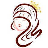 Young beautiful princess with a crown and makeup royalty free illustration