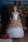 Young beautiful princess in white gold smart dress Stock Image