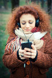 Young beautiful red curly hair woman Royalty Free Stock Photography