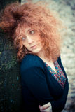 Young beautiful red curly hair woman Royalty Free Stock Images