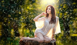 Young beautiful red hair woman wearing a transparent white blouse posing on a stump in a green forest. Fashionable sexy girl Royalty Free Stock Photos