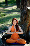 Young beautiful red-haired girl does yoga in Park on green background. . royalty free stock image