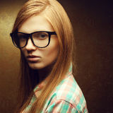 Young Beautiful Red-haired Wearing Trendy Glasses Royalty Free Stock Photos