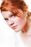 Young Beautiful Red Woman Stock Photo
