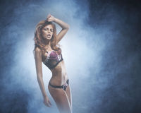A young and beautiful redhead cabaret danceк Royalty Free Stock Photo
