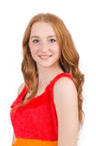 Young beautiful redhead girl isolated on white Stock Images