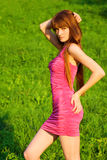 Young beautiful redhead woman on grass Royalty Free Stock Images