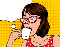 Young beautiful in retro style woman  with cup of coffee. Stock Photos