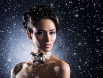Young, beautiful and rich woman in jewels Stock Image