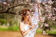 Blonde woman and flowers stock photography