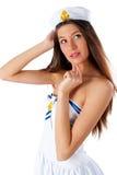 Young beautiful sailor woman Royalty Free Stock Photos