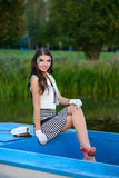 Young beautiful sailor woman with make-up Stock Images