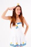 Young beautiful sailor woman salute Stock Photos
