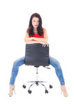 Young beautiful secretary sitting on office chair isolated on wh Stock Photos