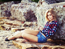 Young beautiful sensual blonde girl outdoors Royalty Free Stock Images