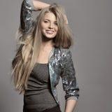 Young beautiful sensual model girl pose in studio Stock Image