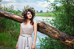 Young beautiful sensual womanoutdoors in summer Royalty Free Stock Image