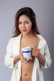 Young beautiful Sexy Asian woman wearing elegant lingerie Royalty Free Stock Image