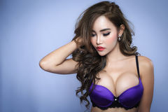 Young beautiful sexy Asian woman wearing elegant lingerie Stock Images