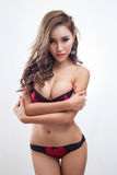 Young beautiful Sexy Asian woman wearing elegant lingerie Royalty Free Stock Photography