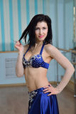 Young Beautiful Sexy Belly dancer in arabic costume, oriental dance Royalty Free Stock Photography