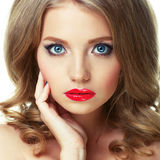 Young beautiful sexy blonde with stylish make-up Royalty Free Stock Photos