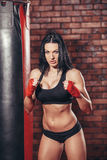 Young beautiful sexy boxer woman with red boxing Royalty Free Stock Photos