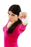 Young beautiful sexy woman with white boxing bandage on hands Stock Photos