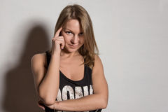 Young beautiful sexy female with blank black shirt, Royalty Free Stock Images