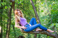 Young beautiful girl model of European appearance with long hair in a shirt and jeans sitting on a tree during a walk in the stock photography