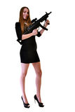 Young beautiful sexy Woman holding Handgun in hand Stock Images