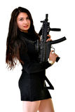 Young beautiful sexy Woman holding Handgun in hand Royalty Free Stock Images