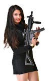 Young beautiful sexy Woman holding rifle in hand Stock Photography