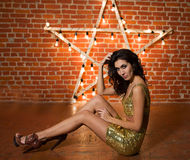 Young beautiful woman like a famous celebrity Royalty Free Stock Images