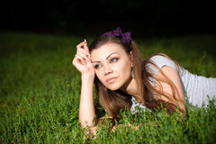 Young beautiful woman on the nature Royalty Free Stock Image