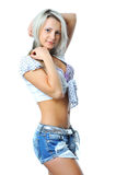 Young beautiful woman posing isolated on white Royalty Free Stock Photo