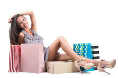 Young beautiful Woman  with shopping bags isolated on white background Stock Photos