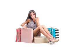Young beautiful Woman  with shopping bags isolated on white background. Royalty Free Stock Photo