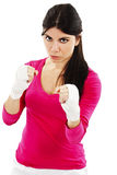 Beautiful woman boxing with hand bandage Stock Photos