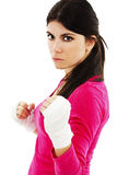 Beautiful woman boxing with hand bandage Stock Image