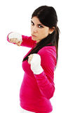 Young beautiful sexy woman with white boxing bandage on hands Stock Image