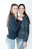 Young and beautiful sisters in friendship, sharing joy, trust, l Stock Images
