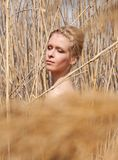 Young beautiful slim girl in the reed Royalty Free Stock Image