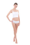 Young beautiful slim woman in cotton underwear isolated on white Royalty Free Stock Photography