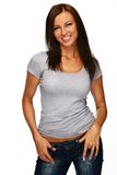 Young beautiful smiling brunette Stock Photos