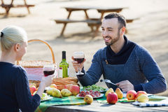 Young beautiful smiling couple drinking wine Royalty Free Stock Photos