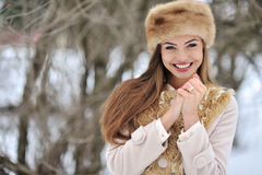 Young beautiful smiling girl face outdoors Royalty Free Stock Images