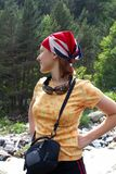 Young and beautiful smiling girl hiker posing Stock Image