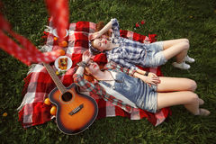 Young Beautiful Smiling Girls Dressed in Pin Up Style Royalty Free Stock Photography